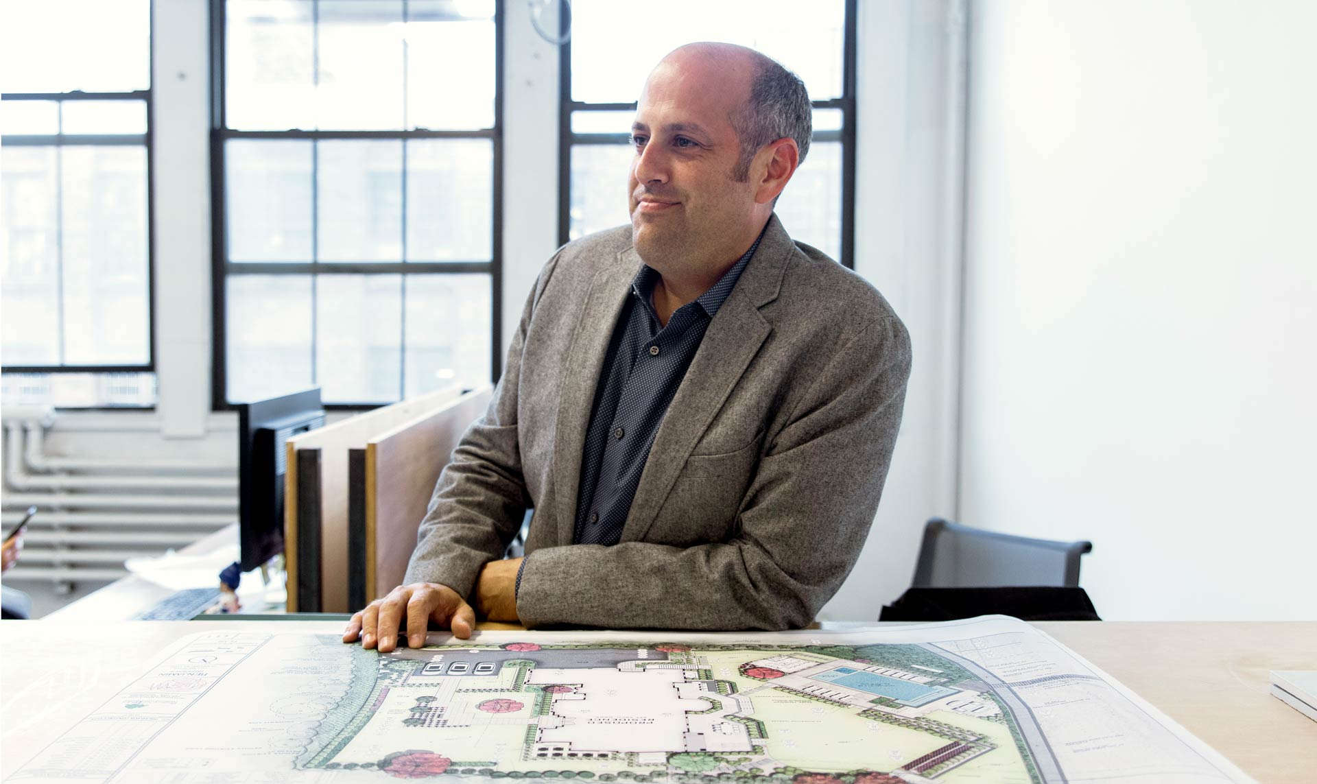 Greg Marett of Bayview Landscape Architecture in his Long Island City Studio during Interview Visit