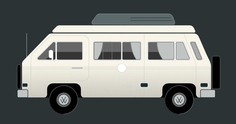 Minimal Volkwagon Van Graphic Design Icon