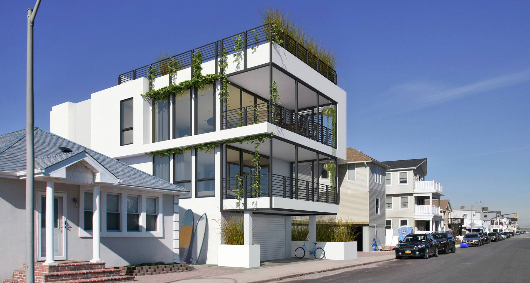 Modern White Beach House Rendering in West End, Long Beach NY