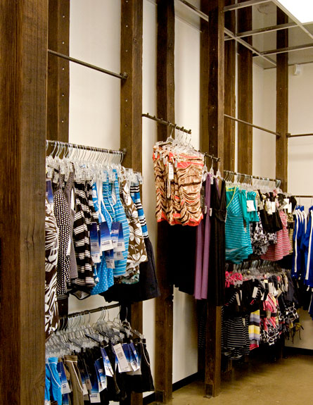 Reclaimed Wood Swimwear Display System Design