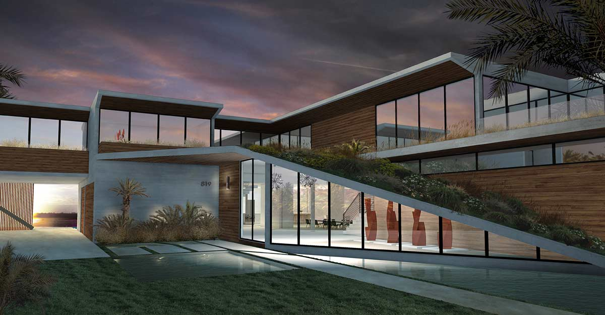 renderings visualizations representing an architectural project