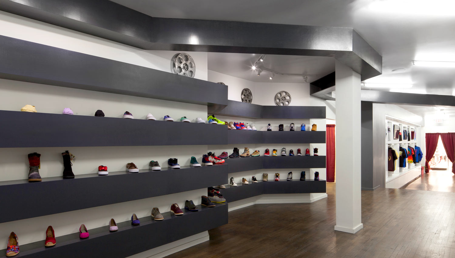 Wrapping Architectural ribbons of sneaker shelving