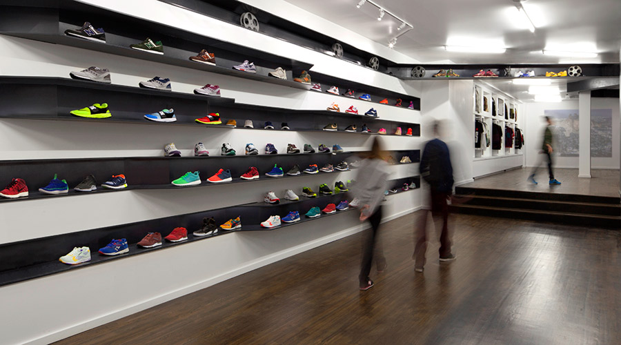 Modern Clean Ribboned Shelving for Retail Sneaker Shop