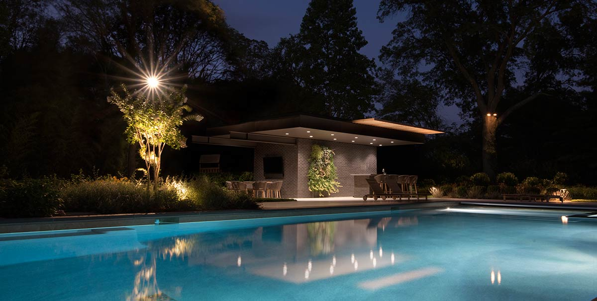 Cantilevered Modern Pool House Architecture Long Island Night Photography
