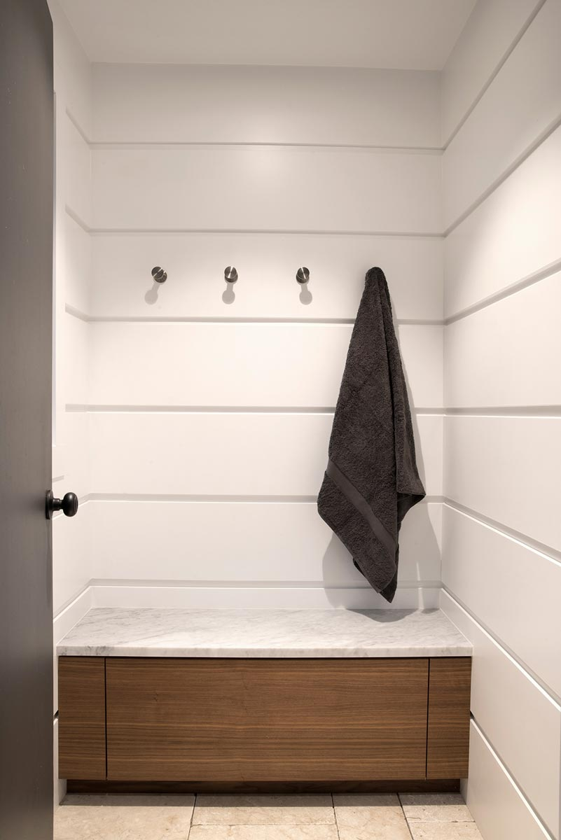 Modern White Pool House Changing Room