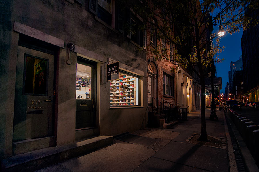Nighttime Soho Retail Shop Illuminated