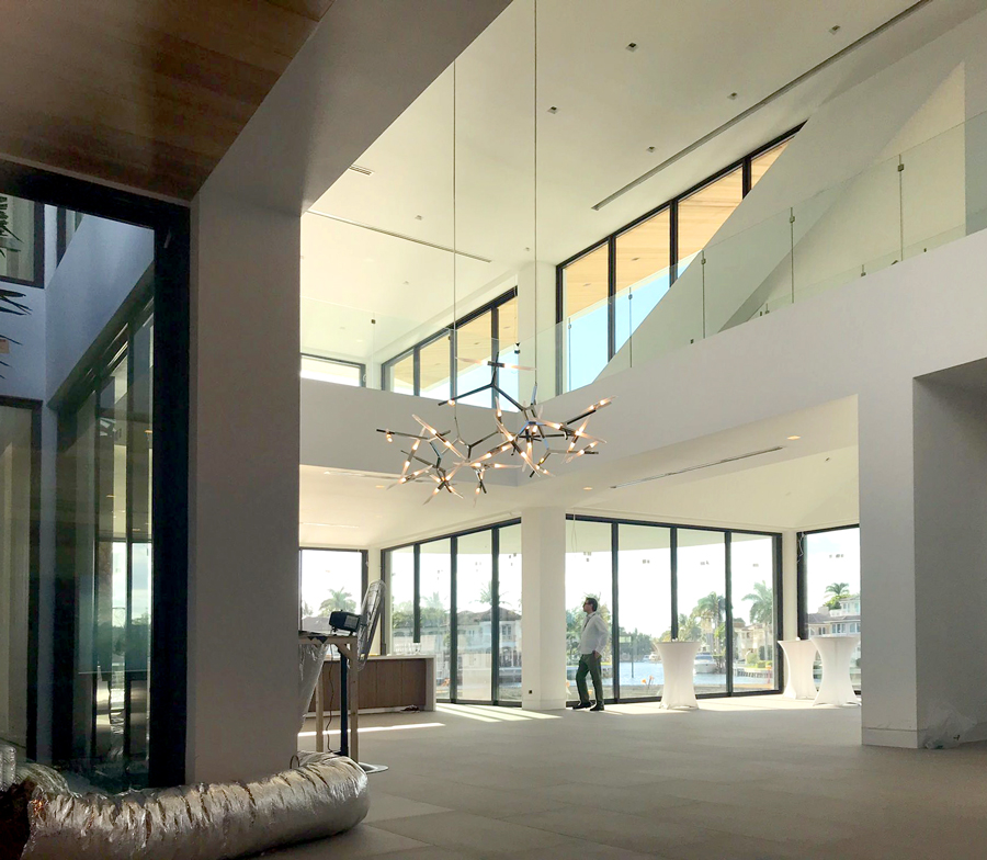 Grand Modern Home Entryway and Dining Area under construction in Boca Raton Florida