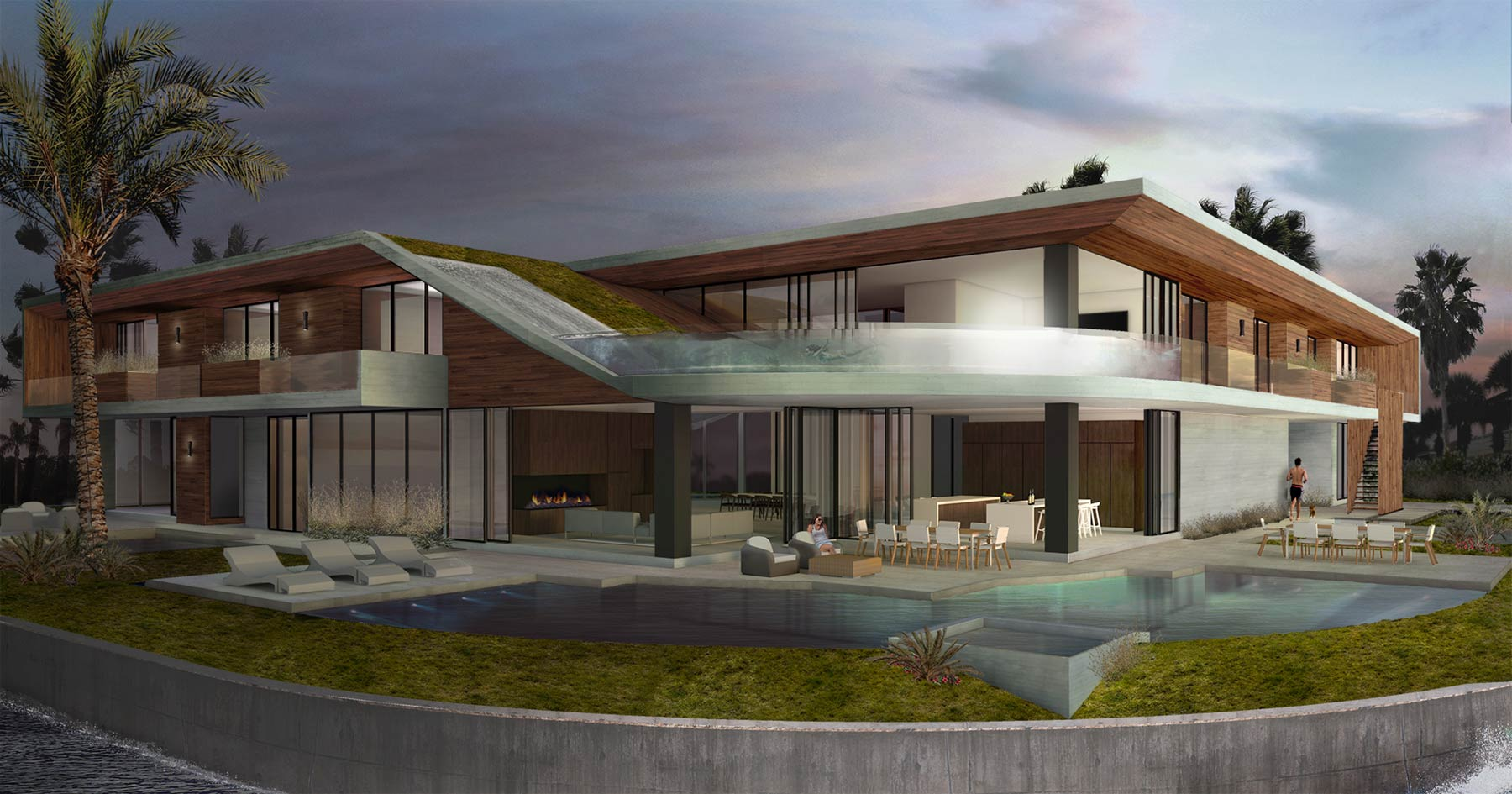 Florida Modern Architecture Rendering of Custom Concrete Home and Floating Pool