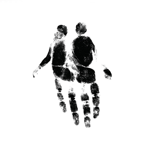 Minimal Graphic Design of Ink Hand Print with Couple Holding Hands by Jeffrey Ramirez