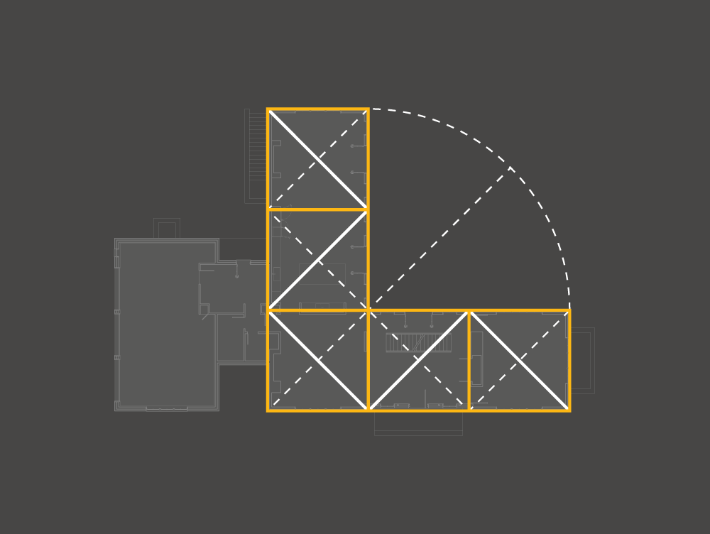 Graphic Design for Architecture Diagrams showing the minimal geometry of the floor plan