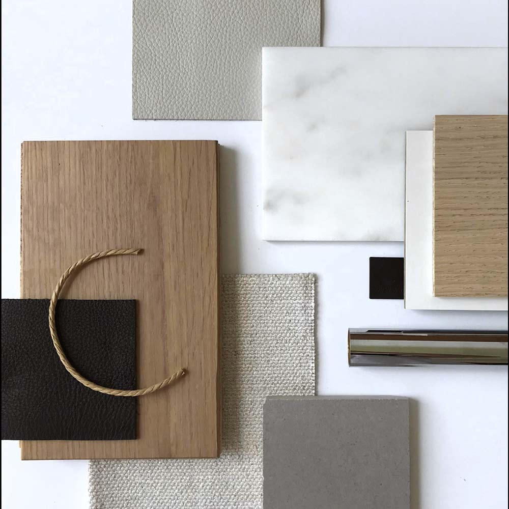 Long Island Modern Farmhouse Interior Design Material Palette Selections