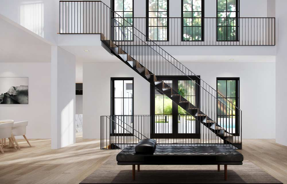 Minimal Black and White Interior Design for Long Island home with Modern Steel Stair