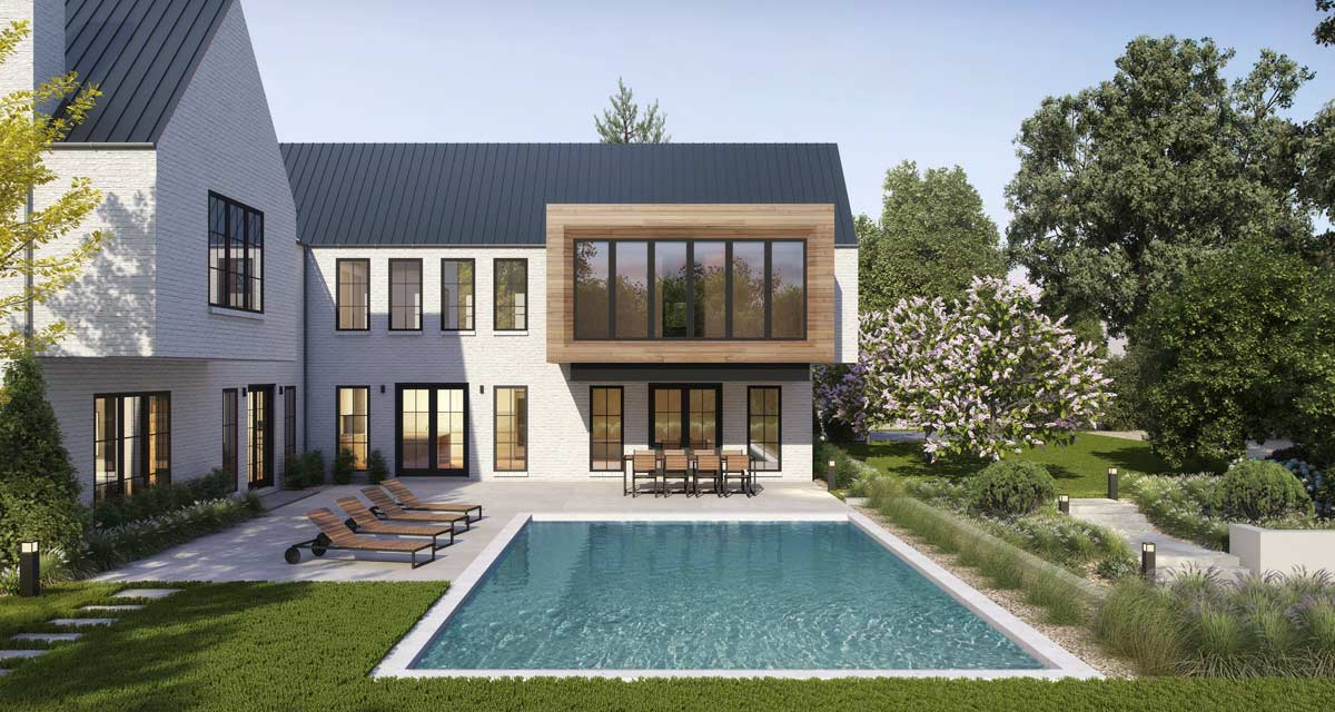 Modern Farmhouse with white brick and black window frams around a large patio and pool landscape architecture plan