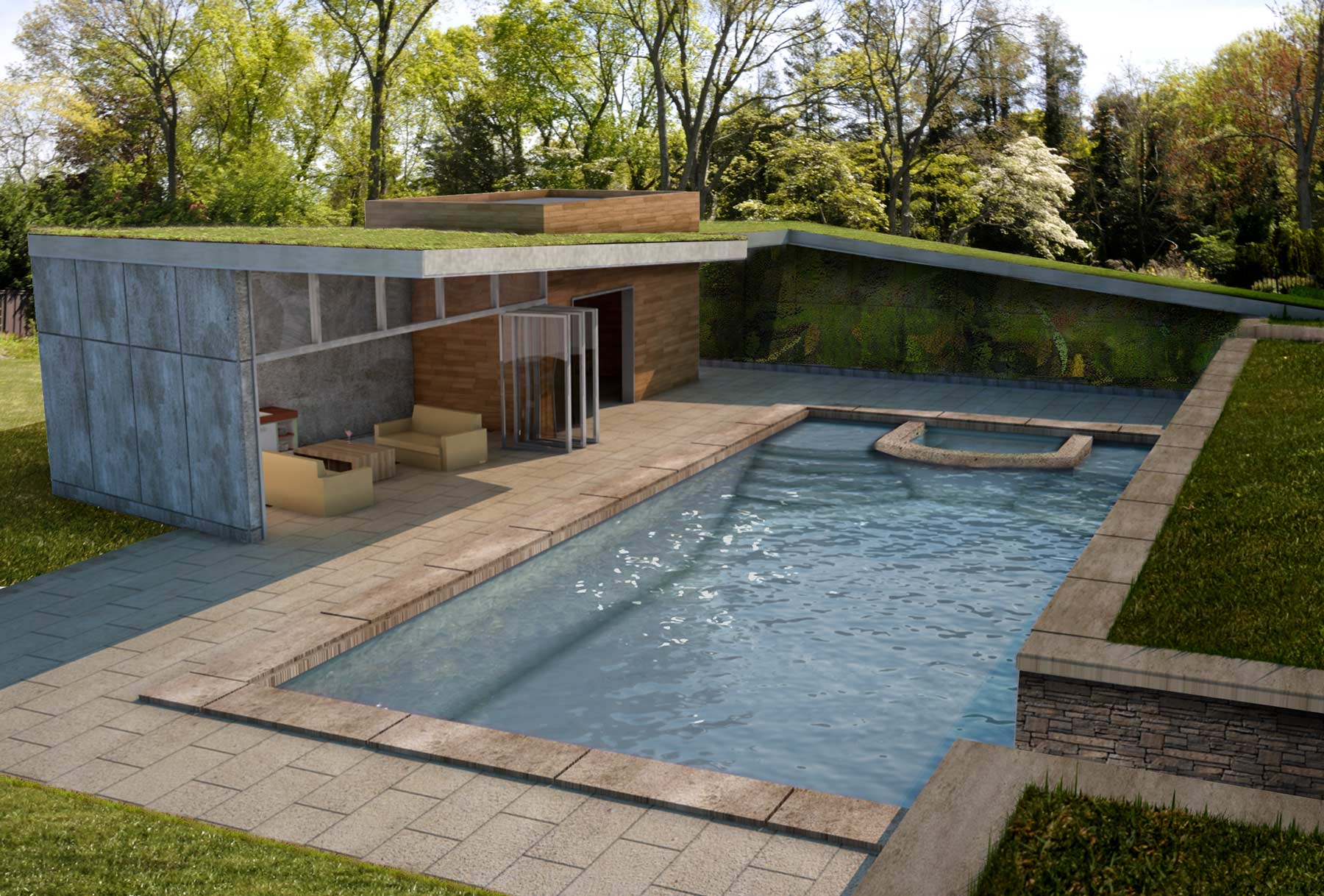 Green Roof Modern Pool House Architectural Rendering