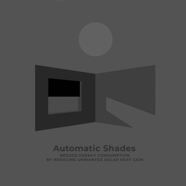 architecture animation showing the sustainabile benefits of automatic shades