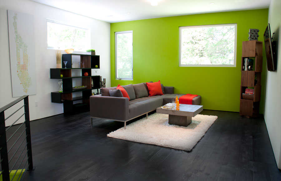 Modern Interiors with Lime Green Accent Wall