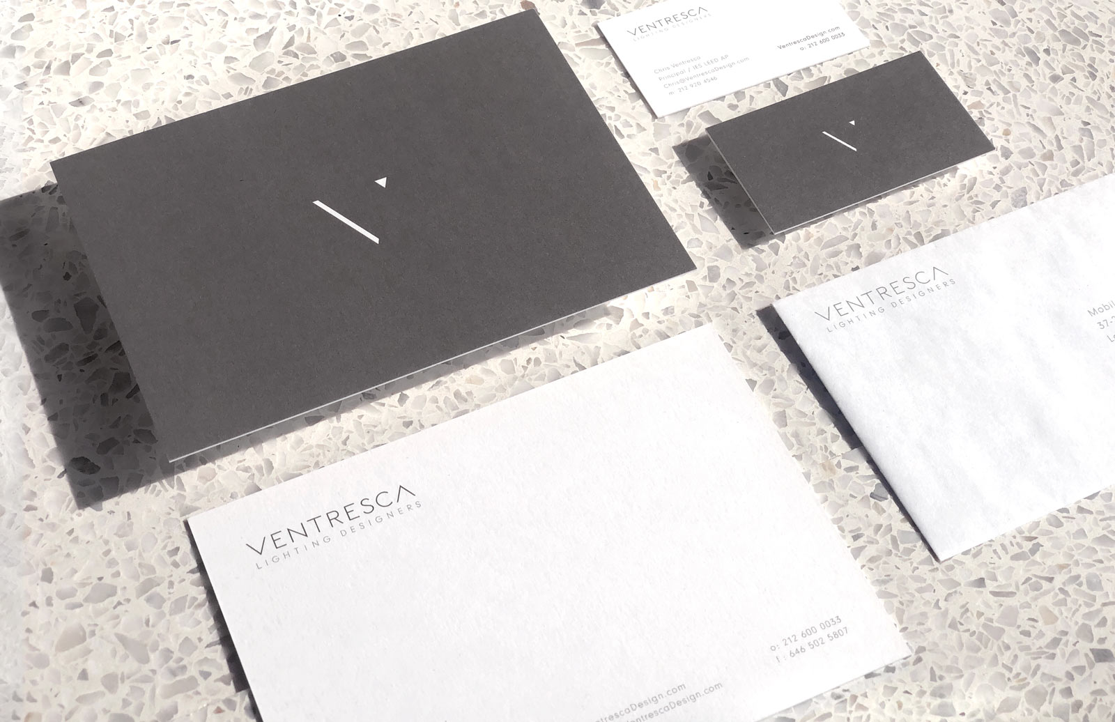 Minimal Branding Design for NYC Architectural Lighting Designer's Print Collateral